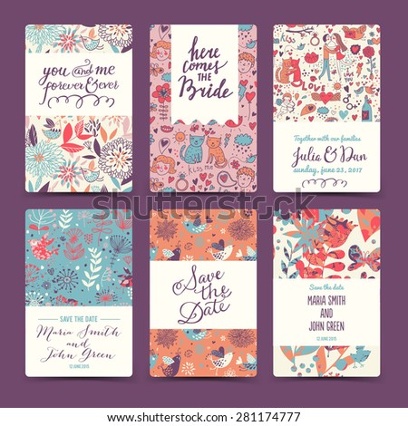 Sweet wedding romantic collection with 6 awesome cards made of hearts, flowers, couple of lovers, cats, wreaths, butterflies and birds. Lovely save the date invitation cards in vector.