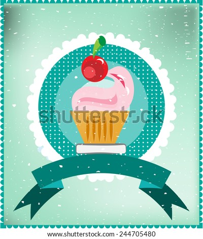 Sweet with cherry on blue dotted background, blue ribbon - stock vector