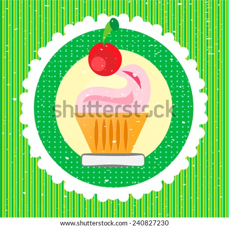 Sweet with cherry on green striped background - stock vector