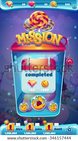 Sweet world mobile game user interface GUI mission completed window - stock vector