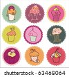 Sweet Yummy Cupcakes Set - stock vector