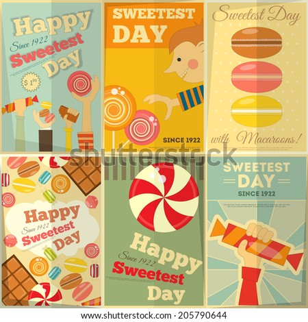 Sweetest Day Posters Set in Retro Style with Sweets. Vector Illustration. - stock vector