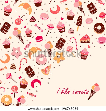 Sweets and baking desserts hand drawn illustration - stock vector