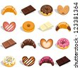 Sweets and cakes in different flavors and colors - stock vector