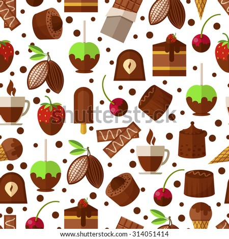 Sweets and candies, chocolate and ice cream seamless pattern background. Sweet dessert, candy and product appetizing. Vector illustration - stock vector