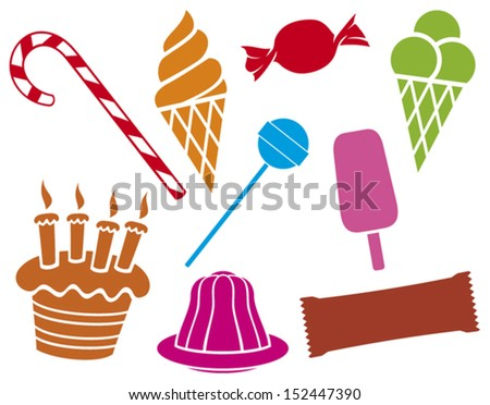sweets and candies collection (pudding in dish, birthday cake with candles, ice cream, package for chocolate, candy, candy cane, lollipop) - stock vector
