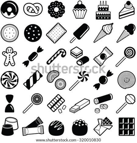 Sweets and candies icons collection - vector illustration