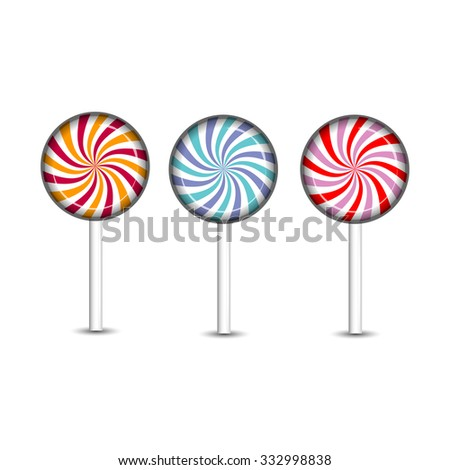 Sweets and candies icons set on white with shadow