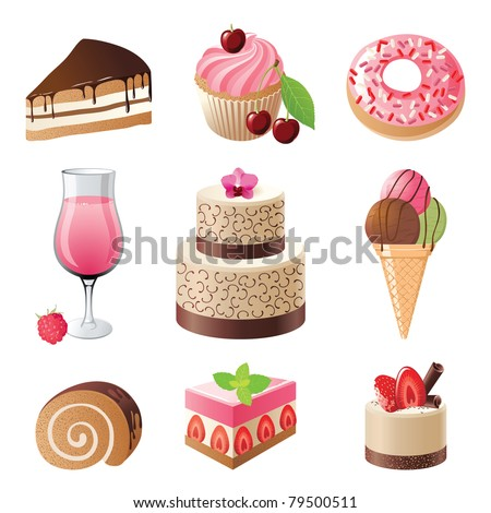 sweets and candies icons set - vector illustration - stock vector