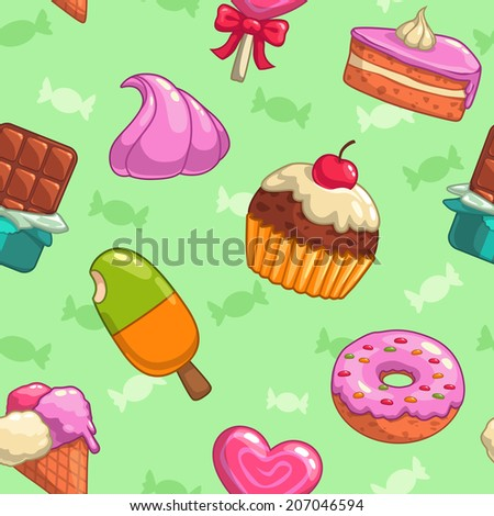 Sweets and candies seamless vector pattern - stock vector