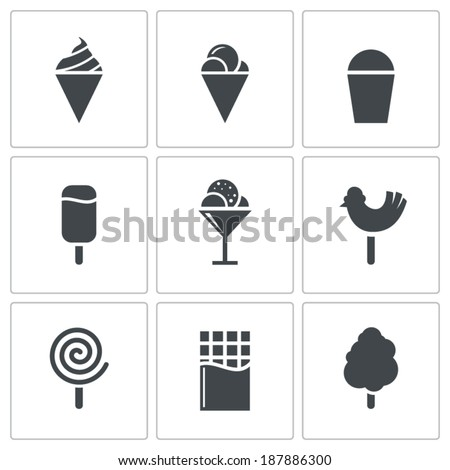 sweets and ice cream icon set - stock vector