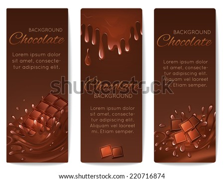 Sweets dessert food milk chocolate bars and splash drips vertical banners set isolated vector illustration - stock vector