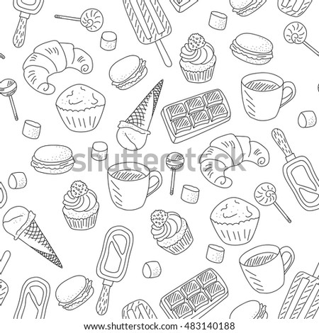 Sweets food repeating pattern. doodle goodies, black on a white background vector