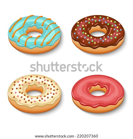 Sweets glazy chocolate creamy donut dessert set isolated vector illustration - stock vector