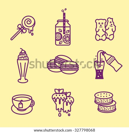 Sweets icon set. Outline design.