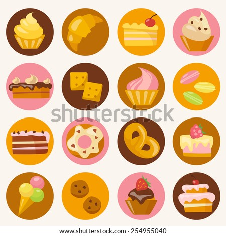 Sweets icons set in flat style  - stock vector