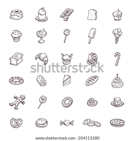 Sweets icons set, vector illustration.