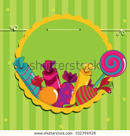 Sweets in the frame on strings - stock vector