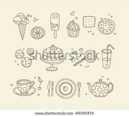 Sweets outlined icons - stock vector