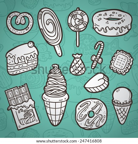 Sweets set. First part of vector doodle collection of hand drawn sweets icons with outline seamless pattern on background - stock vector