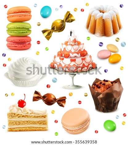 Sweets, set of vector icons - stock vector