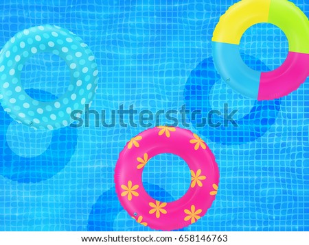 Swim Rings On Swimming Pool Water Background. Inflatable Rubber Toy.  Realistic Summertime Illustration.