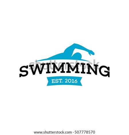 Swim Swimming Club Swimmer Logo Design Stock Photo Photo Vector Rh  Shutterstock Com Swimming Pool Company Logo Design