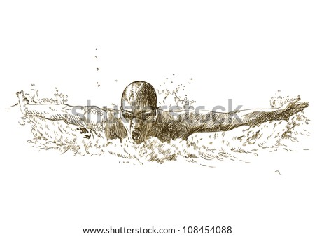 Swimmer, butterfly swiming style - hand drawing picture converted into vector - stock vector