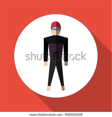 Swimmer in swimsuit.Flat icon with long shadow