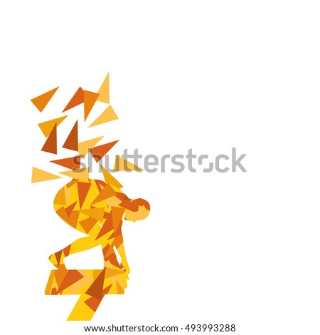 Swimmer professional starting jumping position vector abstract illustration concept made with polygon fragments isolated on white