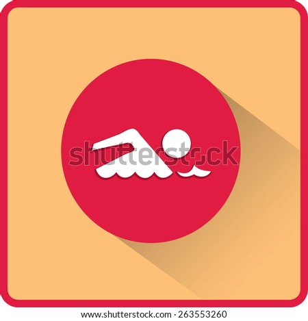 Swimmer sign. Flat Vector Icon - stock vector