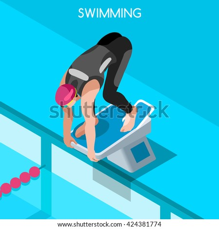 Swimmer start position pedestal Sportsman Icon Set. 3D Flat Isometric Swimming Freestyle. Breaststroke Backstroke Relay Individual Sport Competition Race Infographic olympics people Vector Collection