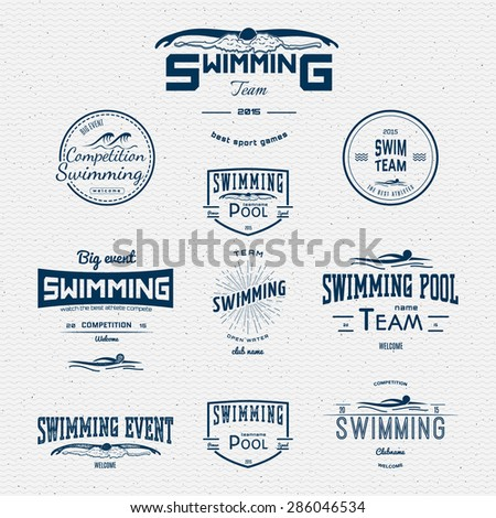 Swimming badges logos and labels for any use. on a white background - stock vector