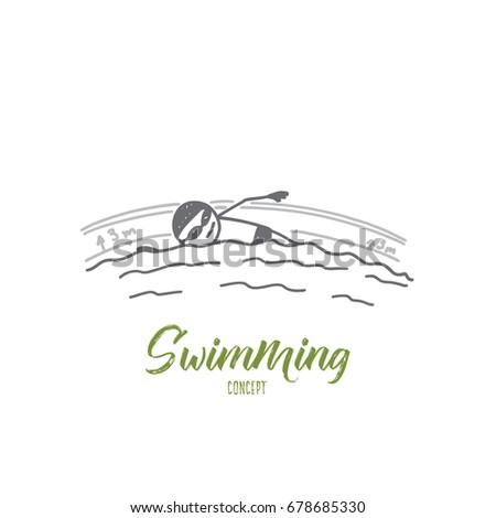swimming concept hand drawn man swimming stock vector 678685330