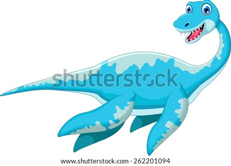 Swimming dinosaur cartoon  - stock vector