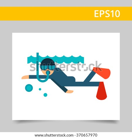 Swimming diver flat icon. Swimming diver under water icon. Snookering concept image. Swimming diver multicolored icon. Swimming diver icon app. Swimming diver icon web. Swimming diver icon new. - stock vector
