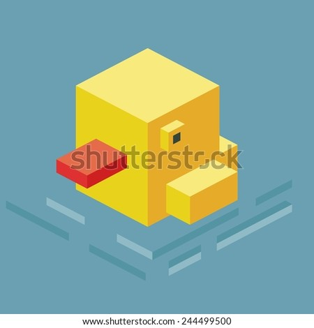 swimming duck. 3d pixelate isometric vector - stock vector