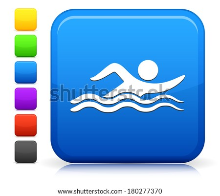 Swimming Icon on Square Internet Button Collection - stock vector