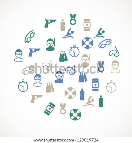 Swimming icons - stock vector