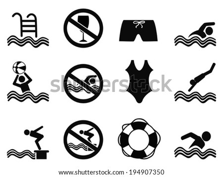 swimming icons set - stock vector