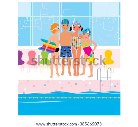 Kids swimming pool stock images royalty free images vectors shutterstock for Swimming pool lessons for kids