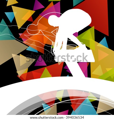 Swimming people fit and active healthy silhouettes isolated sport color abstract shape background vector illustration