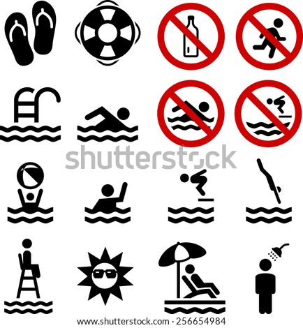 Swimming, pool and diving icon set. Vector icons for digital and print projects. - stock vector