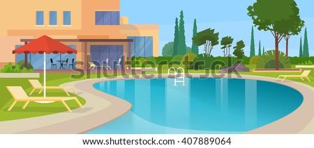 Swimming Pool Big Modern Villa Hotel House Exterior Flat Design Vector Illustration - stock vector