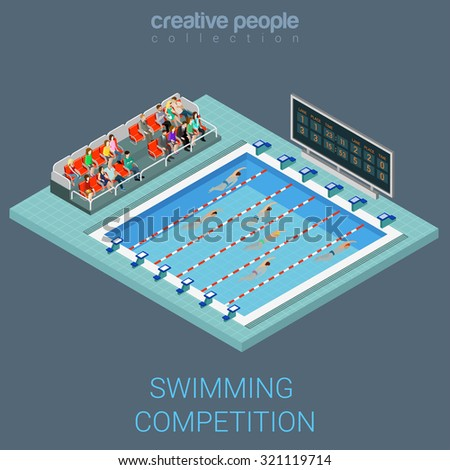 Swimming pool competition flat 3d isometric info graphics concept. Sportsmen swim line race indoor interior infographics. Creative people collection. - stock vector