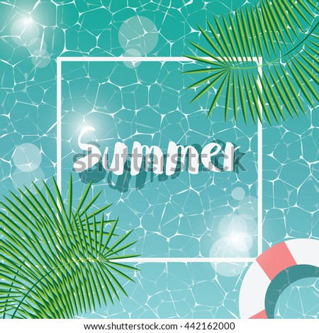 Swimming pool, top view, typographic hello summer message, summer time holiday vacation, vector illustration - stock vector