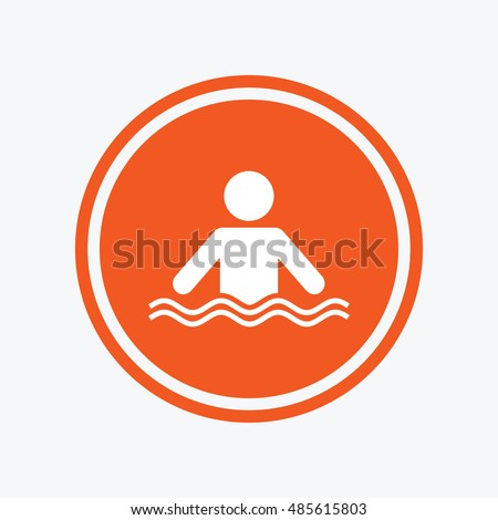 Swimming sign icon pool swim symbol stock vector 485615803 for Pool design graphic
