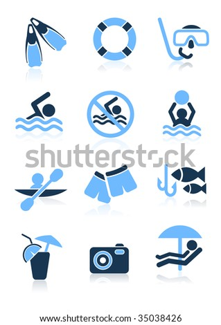 Swimming sport icons,  vector illustration, EPS file included - stock vector