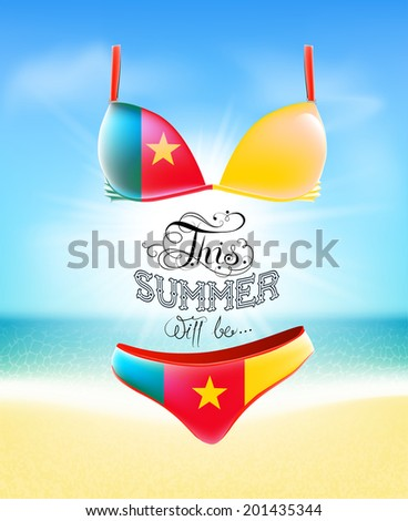 Swimsuit. Lettering. Seascape. Sun. Inscription. Summer landscape. Painted on a bathing suit. Panties and bra. Background.  Flag of Cameroon