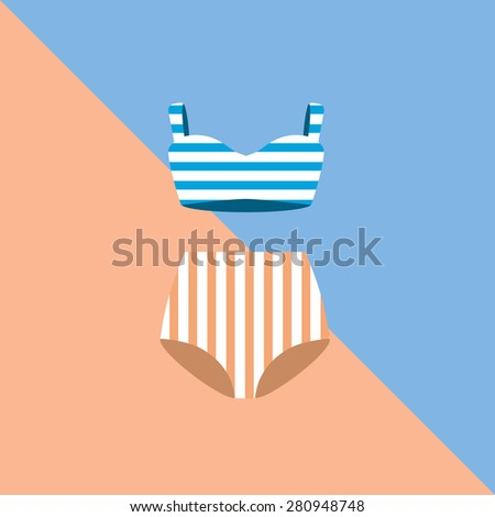 Swimsuit set. Vintage vector illustration. - stock vector